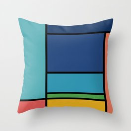 The Colors of / Mondrian Series - Ponyo- Miyazaki Throw Pillow