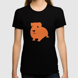 Guinea Pig in Orange on Electric Cyan Blue Green T-shirt