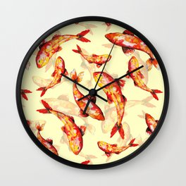 Make a wish on a gold koi fish Wall Clock