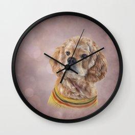 Drawing Dog breed Spaniel Wall Clock
