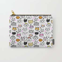 Whimsical Cat Faces Pattern Carry-All Pouch