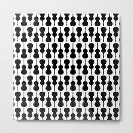 Double Bass Pattern - black on white Metal Print