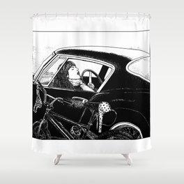 asc 432 - Le bolide noir (Never go into a black car) Shower Curtain