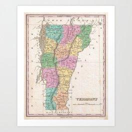 Vintage Map of Vermont (1827) Art Print