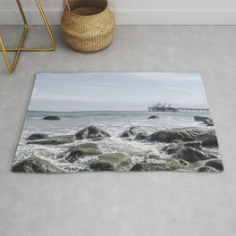 Pacific Pier   Malibu Ocean Scene Waves Tide Beach Washed Out Rug