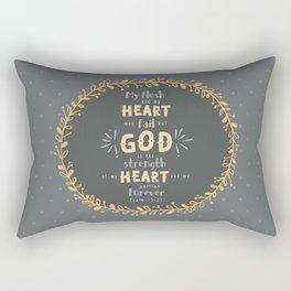 """""""Strength of my Heart"""" Hand-Lettered Bible Verse Rectangular Pillow"""