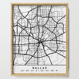 DALLAS TEXAS BLACK CITY STREET MAP ART Serving Tray
