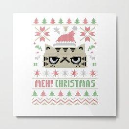 Cat Meh Christmas Metal Print