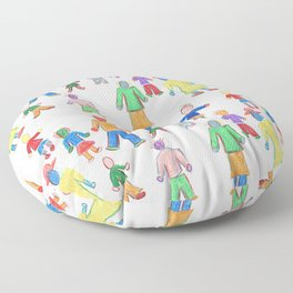 Multicolor People Multiples Floor Pillow