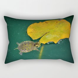 Baby Turtle And Lily Pad Rectangular Pillow