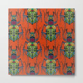 flower beetle orange Metal Print