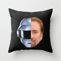 nicolas cage Throw Pillows featuring Daft Cage by Jared Cady
