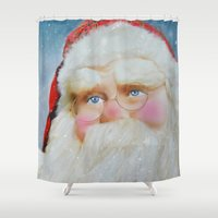 santa Shower Curtains featuring Santa by Mary Timman