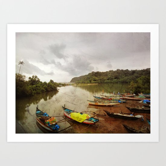 Fishing port in Goa, India Art Print