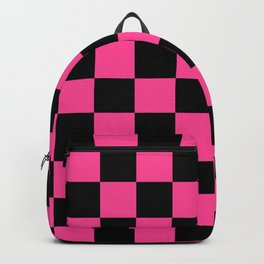 Black and Pink Checkerboard Pattern Backpack