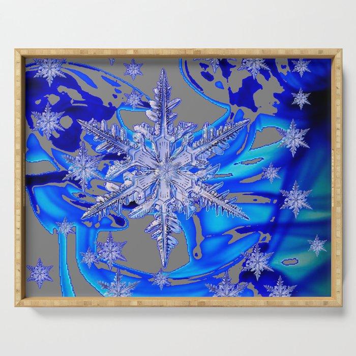 MODERN ROYAL BLUE WINTER SNOWFLAKES GREY ART Serving Tray