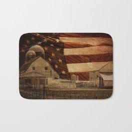 Rustic Barn Americana Heartland Farmhouse Country Flag Decor Art A463 Bath Mat