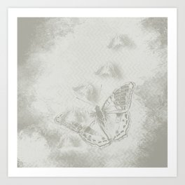 delicate butterflies and textured chevron pattern Art Print