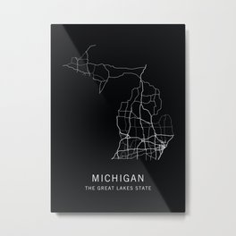 Michigan State Road Map Metal Print