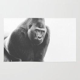 Silverback Gorilla (black + white) Rug