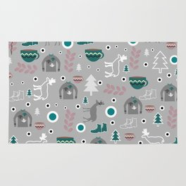 Deer and winter clothing Rug