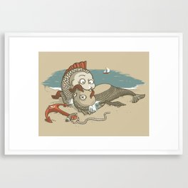 Fish Mouth to Mouth Framed Art Print