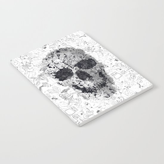 Doodle Skull BW Notebook