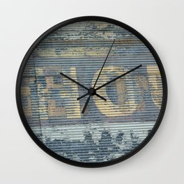 Warehouse District -- Rustic Country Chic Abstract with Letters Wall Clock
