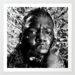 BIGGIE TRIBUTE (BLACK & WHITE VERSION) Art Print