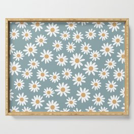 Daisies - daisy floral repeat, daisy flowers, 70s, retro, black, daisy florals dusty blue Serving Tray