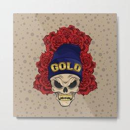 MAD SKULL GOLD Metal Print