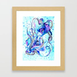 Octopus, Turquoise Blue aquatic Beach design Framed Art Print