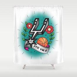 Old-School Spurs Love Shower Curtain