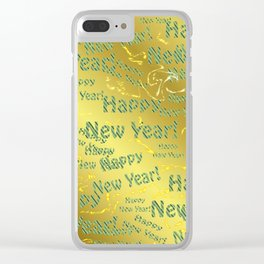 blue Colorful design happy new year text in gold, festive, elegant gift for anyone in the family Clear iPhone Case