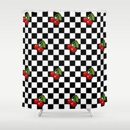 Checkered Cherries Shower Curtain