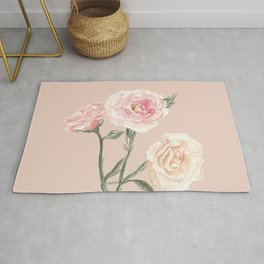 Vintage Watercolor Rose Blush Tones Rug