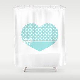 Heart & Ribbon-green Shower Curtain