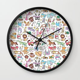 Winter Animals with Scarves Doodle Wall Clock