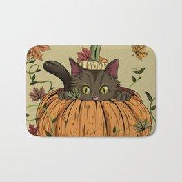 Pumpking cat Bath Mat