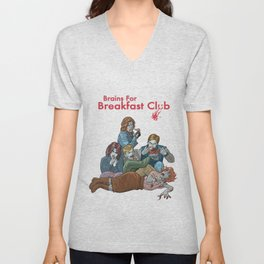 Brains for Breakfast Club (white) Unisex V-Neck