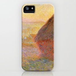Haystacks, Sunset (1891) by Claude Monet iPhone Case