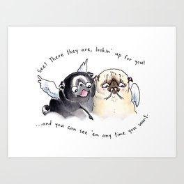 Angel Pugs Art Print