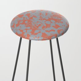 Floral Silhouette Pattern - Broken but Flourishing in Coral Counter Stool