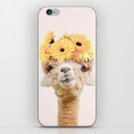 Alpaca Flowers iPhone Skin