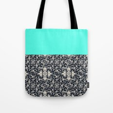 Modern Lace & Aqua Tote Bag