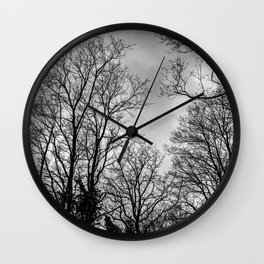 Black and white haunting trees Wall Clock