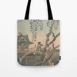 a Bridge and a House. Ukiyoe Landscape Tote Bag