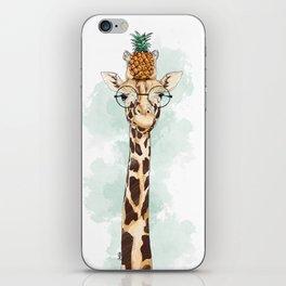 Intelectual Giraffe with a pineapple on head iPhone Skin