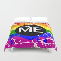 politics Duvet Covers featuring Freedom flag Rainbow Born Me by mailboxdisco