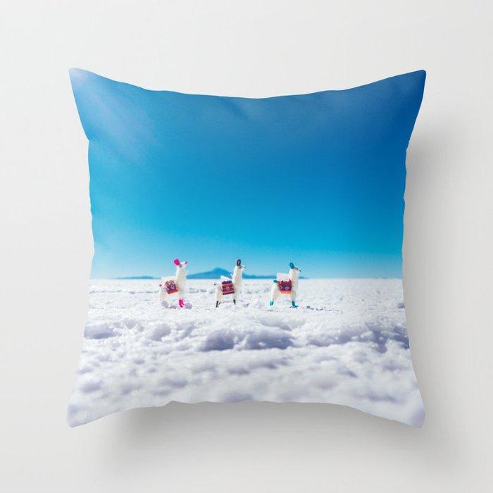 Mini Llamas on the Bolivia Salt Flats Throw Pillow